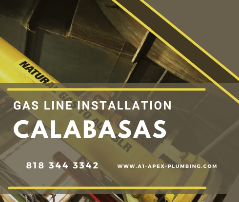 Gas line installation for fireplace in Calabasas